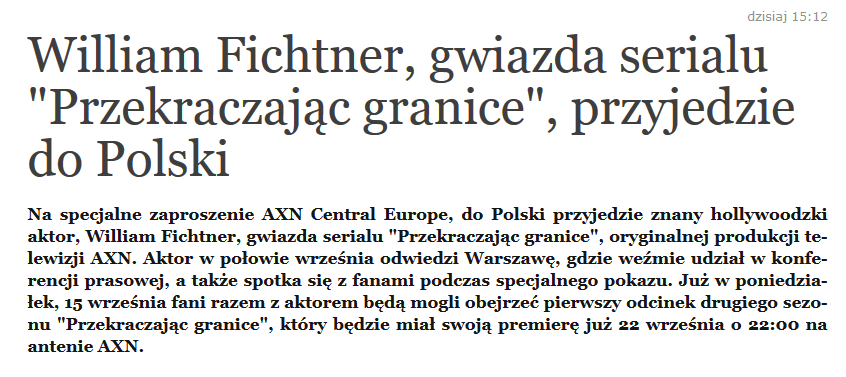 William Fichtner przyjeżdża do Polski